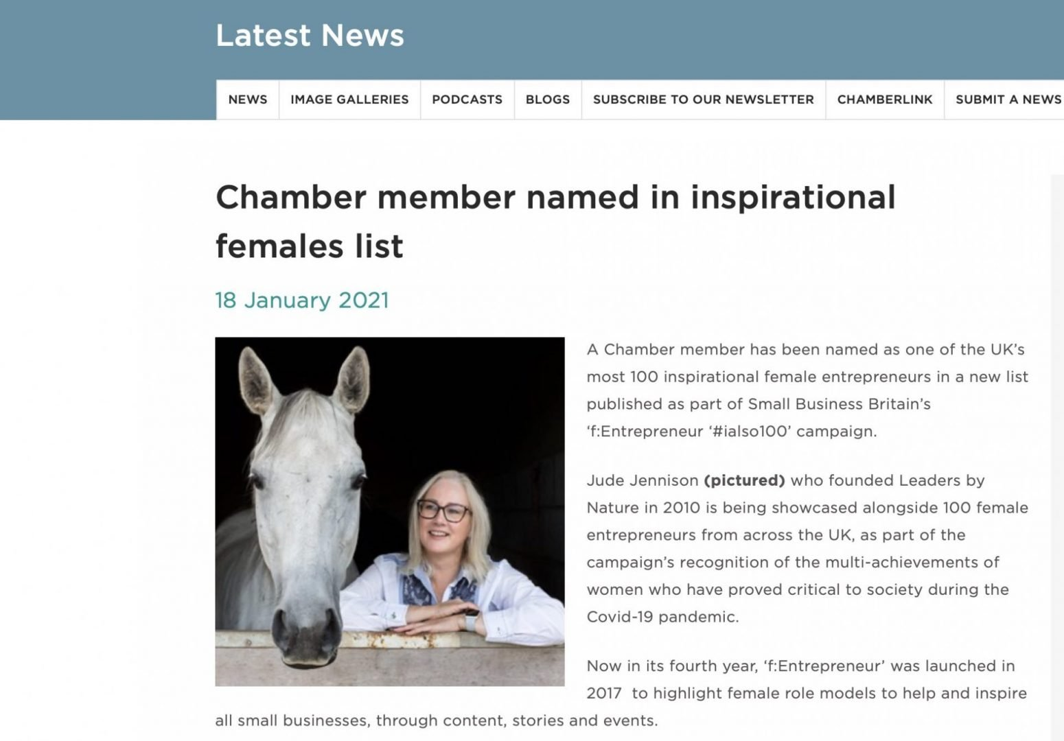 Chamber of Commerce article
